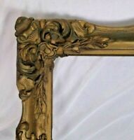 "Antique fits 16"" X 20"" Gold Gilt Ornate Gesso Wooden Picture Frame"