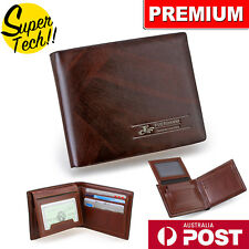 Premium Genuine Leather Mens Purse Bifold Brown Business Credit Card Wallet OZ