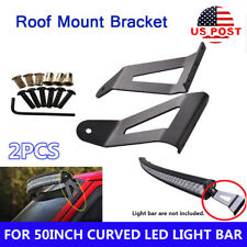 "50"" Curved LED Light Bar Windshield Mount Bracket Fits 84-01 Jeep Cherokee XJ"