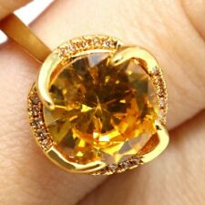 3CT Round Yellow Citrine Hand Carved CZ Halo Ring Jewelry 14K Yellow Gold Plated