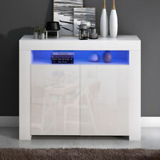 Modern High Gloss Fronts Sideboard Cabinet Storage LED Furniture White Black