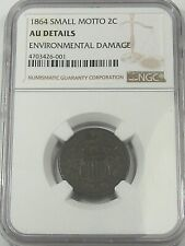 Key-Date 1864 US Two Cent Coin (Small Motto). NGC AU Details. 2¢.  #38