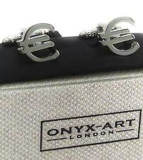 Euro Money Sign Cufflinks Symbol in a gift Box Onyx Art CK111