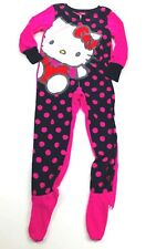 Hello Kitty Girls One Piece Footed Pajamas Size Small (4-6) PJ's Pink Polka Dot