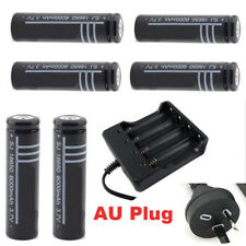 6x 18650 Rechargeable Battery + Charger LI-ION Flashlight Protected AU stock