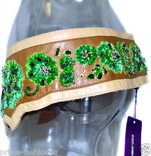 Dolce & Gabbana Beige Leather Velvet thread Crystal Embellishment Vintage Belt
