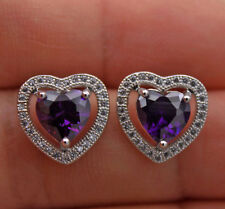18K White Gold Filled- Hollow Sweet Heart Amethyst Topaz Zircon Wedding Earrings