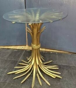 "Mid-Century Gold Gilt Wheat Sheaf Coffee Table Hollywood Regency Italy 19"""
