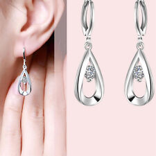 Small Hoop Dangle Earring With Silver Crystal