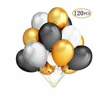 120 Pcs 12'' Gold Black White and Silver Round Latex Balloons for Graduation Ba