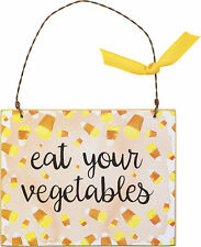 PBK Halloween Decor - Ornament Sign Candy Corn Eat Your Vegetables #33229