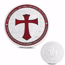 Masonic Knights Templar Europe Red Cross Silver Plated Commemorative Coin Token