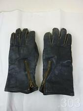 Vintage Black Leather Flying Pilot's / Motorcycle Gloves, Lightning Zips c.WWII