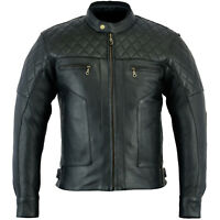 NEW MENS BARON DIAMOND PREMIUM QUALITY NAKED LEATHER MOTORCYCLE JAKCET CE ARMOUR