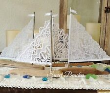 4 White Lace Driftwood Sailboat Seaside Nautical  Decor Wedding Center Peice