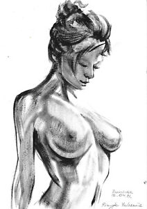 original drawing A4 109RE art samovar  Realism oil dry brush female nude