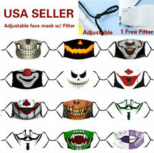 Halloween Zombie Adjustable Cotton Face Mask Washable Reusable 3 - Layer filter