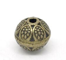 20 Bronze Tone Flower Round Spacer Beads 9x8mm