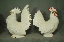 """lot 2 vintage ceramic art pottery Chicken Roosters figurines 8-9"""" birds farm"""