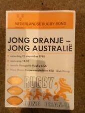 AUSTRALIA VS JONG ORANJE RUGBY UNION program 15 dec 1990