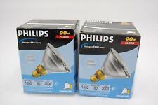 Lot of 2 Philips 90W Flood Halogen PAR Lamp 1350 Lumens 90PAR38/FL25 120V