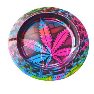 Pink Magenta Metal Ashtray Amsterdam Leaf Round Rolling Ash Catcher Tray