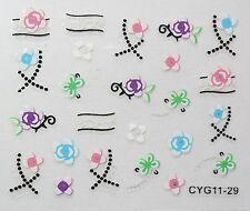 Accessoire ongles: nail art - Stickers autocollants - motifs fleurs multicolores