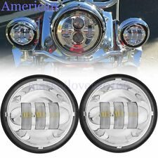"""Pair 4-1/2"""" 4.5"""" LED Auxiliary Motorcycle Fog Driving Light For Harley-Davidson"""