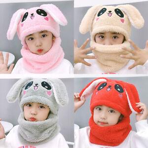 Winter Kids Boys Girls Fox Beanie Warm Hat Hooded Scarf Earflap Knitted Cap