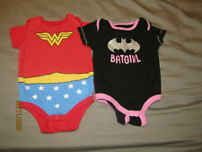 Baby Girl clothes 3-9 months lot 2 BatGirl Wonder Woman Romper Used