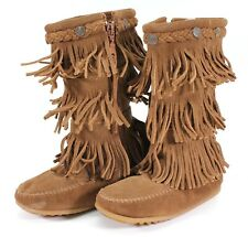 NEW Minnetonka Youth Girl/'s Double Fringe Side Zip Boots Brown #2292 Q17 z