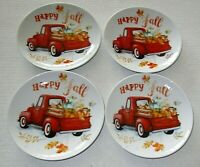 "FALL RED TRUCK W/ PUMPKINS APPETIZER CERAMIC PLATES  6"" Dia. HAPPY FALL"