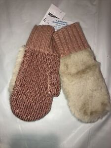 NWT Crewcuts Kids' Girls Faux Fur Front & Metalic Pink mittens Sz Sm