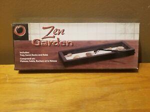 Mini Zen Garden Kit Tabletop Decor Meditation Sand Rocks Rake Tray