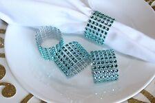 10 diamond crystar Rhinestone napking rings wedding party holder mesh turquoise