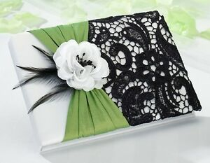 Green & Black Guest Book Wedding Reception Signature Guestbook Lace Gift