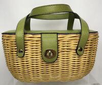 Rattan Wicker Woven Basket 1960's Style Small Handbag Avocado Green & Gold