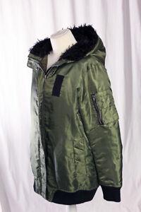 Zara Woman Premium The Hoodie Bomber Coat Jacket Green Army Style Medium VGC!