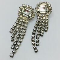 Vintage Art Deco Rhinestone Earrings Pierced Emerald Cut Crystal Dangle