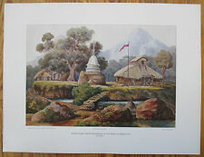 HAECKEL: Large Chromolithographic Print Buddha Temple Ceylon Sri Lanka - 1905