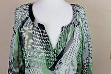YASB Tunic Peasant Top Sheer Large Silk Black Green White Abstract Print