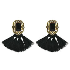 Women's Fashion Bohemian Rhinestone Crystal Tassel Fringe Boho Dangle Earrings