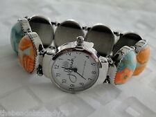 NEW JILZARA Premium Handmade Clay Beads SEA SHORE BLUE ORANGE OVAL Watch