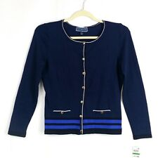 NWT Karen Scott Womens Petite L Blue Contrast Trim Button Down Cardigan Sweater