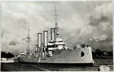 Cartolina Marina - Leningrado, Nave Russa All'Ormeggio - Viaggiata