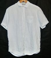 Tommy Bahama Relax Women's White Button Up SS Linen Blouse Shirt S
