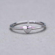 925 Solid Sterling Silver Adjustable Open Band Finger Ring Lady Statement Heart