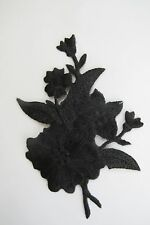 "#3821 4 3/8"" Black Wild Flower Embroidery Iron On Appliqué Patch"