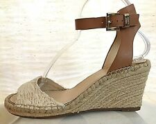8aeacedb14 NEW Vince Camuto Women's 8.5 Espadrille Wedge Heel Sandal Leather Textile  Shoes