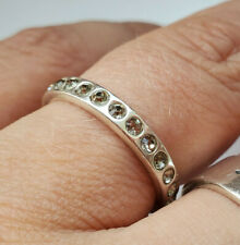 Next 925 Silver Clear Round CZ Full Eternity Ring Band Size UK O